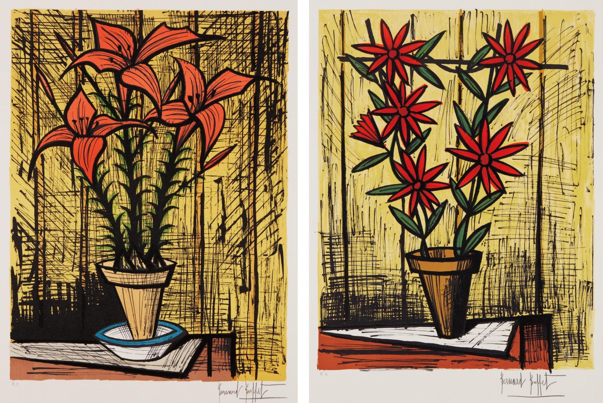 Bernard Buffet-Marguerites Rouges (Red Daisies), And Fleurs Oranges Dans Un Pot (Orange Flowers In A Pot)-1983