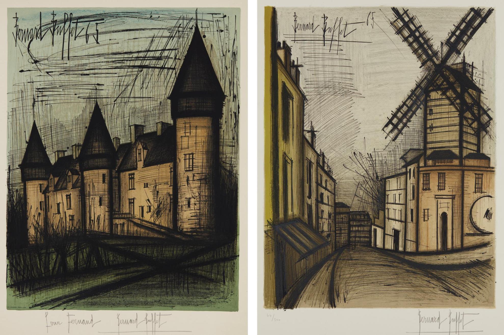Bernard Buffet-Le Chateau De Culan (Culan Castle); And Le Moulin De La Galette, By Charles Sorlier-1965