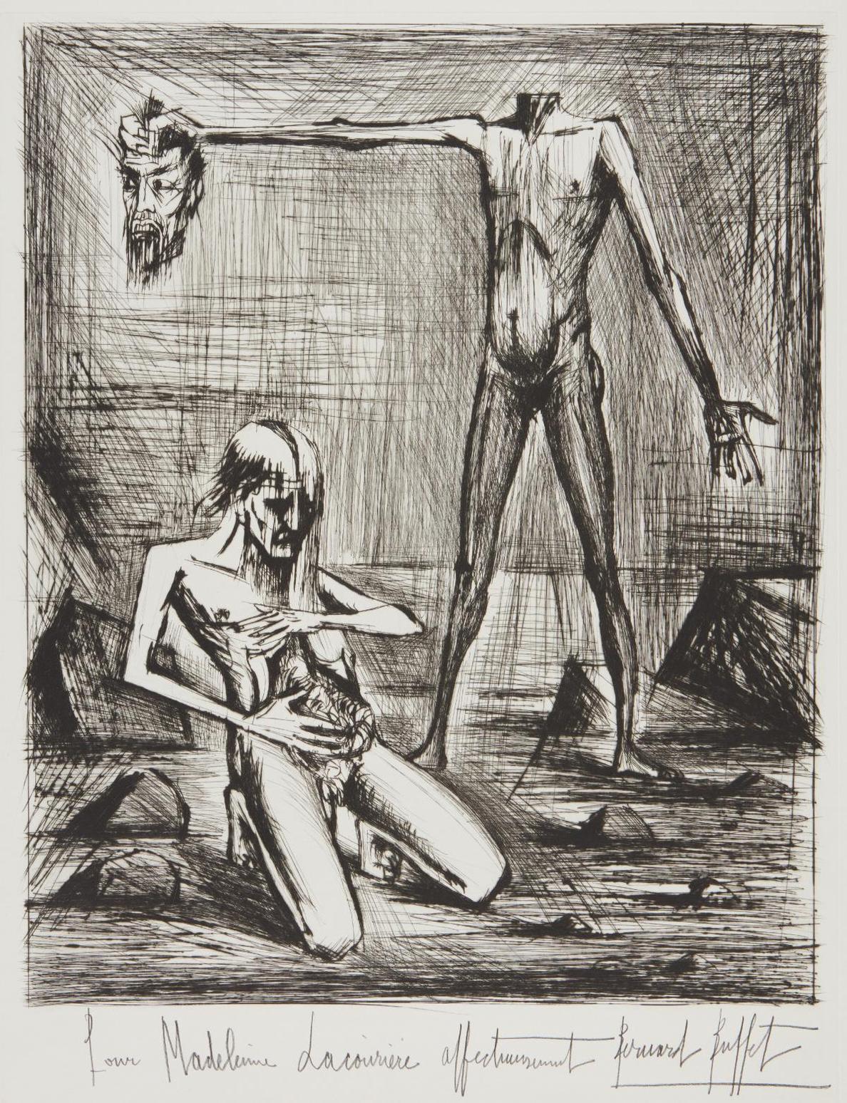 Bernard Buffet-L'Enfer - Tete (Hells Head), From L'Enfer De Dante (Dantes Inferno)-1977