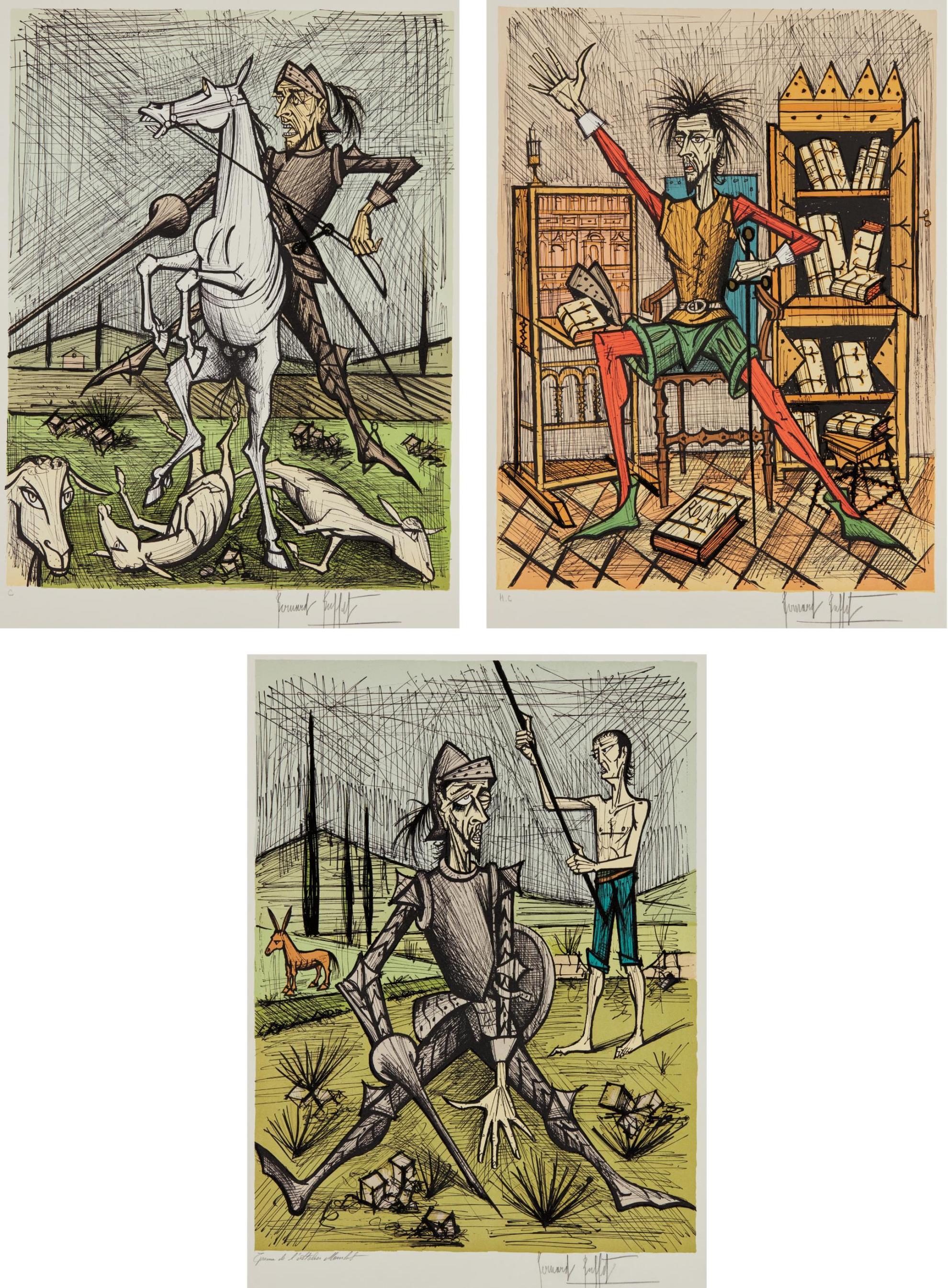 Bernard Buffet-Don Quixote Recontre Avec Les Muletiers (Don Quixote With The Mule Drivers); Don Quixote Dans La Bibliotheque Ii (Don Quixote In Library Ii); And Don Quixote Et Les Moutons (Don Quixote And The Sheep)-1989