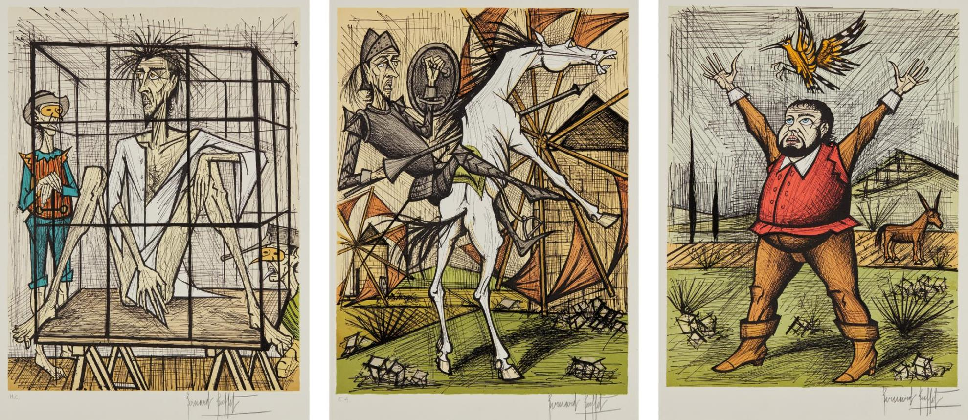 Bernard Buffet-Don Quixote Et Les Moulins (Don Quixote And The Mills); Sancho Panza Et La Huppe (Sancho Panza And The Hoopoe); And Don Quixote En Cage (Don Quixote In A Cage), From Don Quixote-1989