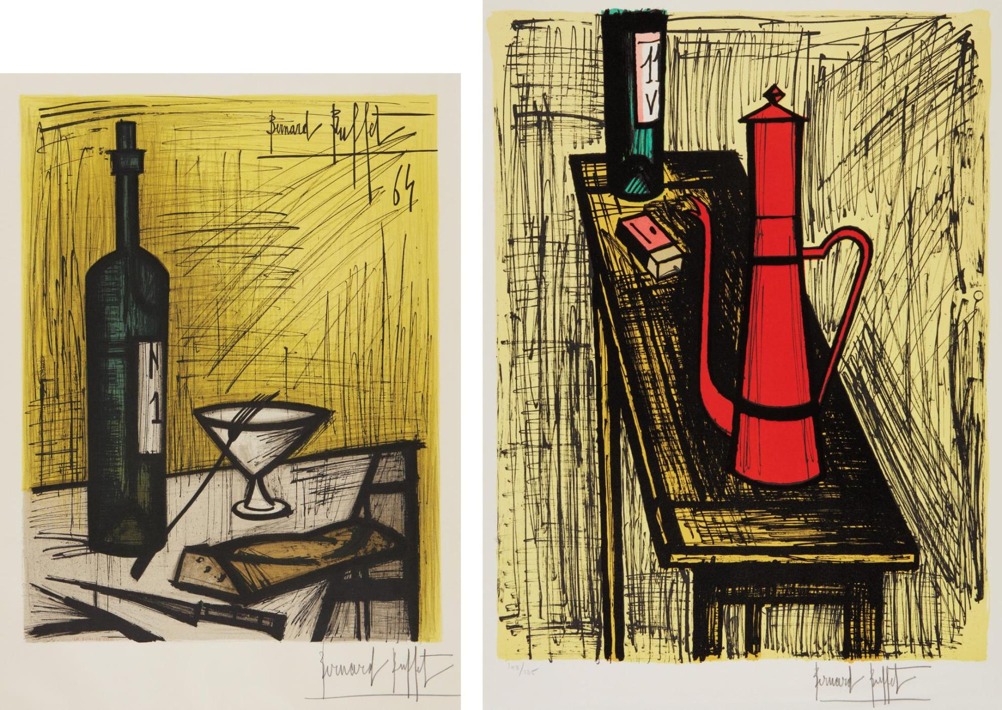 Bernard Buffet-Affiche D'exposition - Le Pain Et Le Vin (Bread And Wine), By Charles Sorlier; And La Cafetiere Rouge (The Red Coffee-Maker)-1982