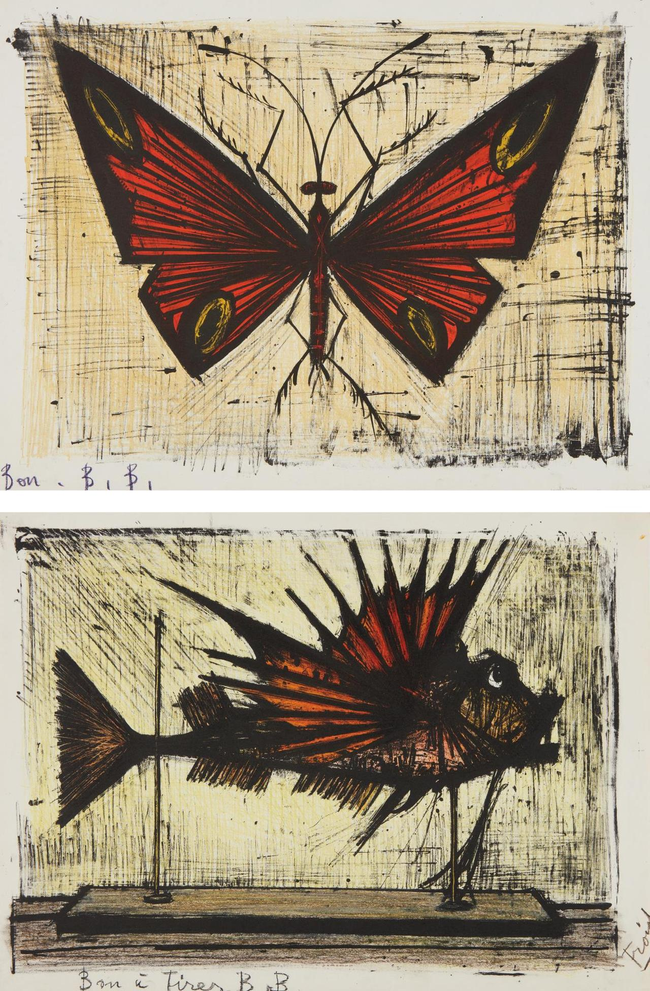 Bernard Buffet-Le Papillon Rouge Et Jaune (Red And Yellow Butterfly); And La Rascasse (Scorpion Fish)-1964