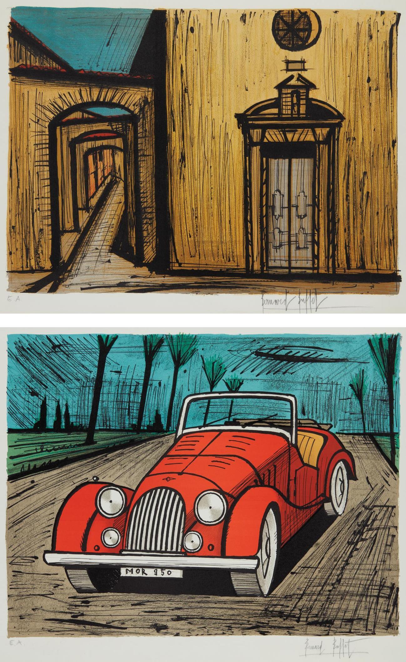 Bernard Buffet-La Rue Et Leglise De La Misericorde (The Street And The Church Of Mercy), From St. Tropez; And Morgan-1985