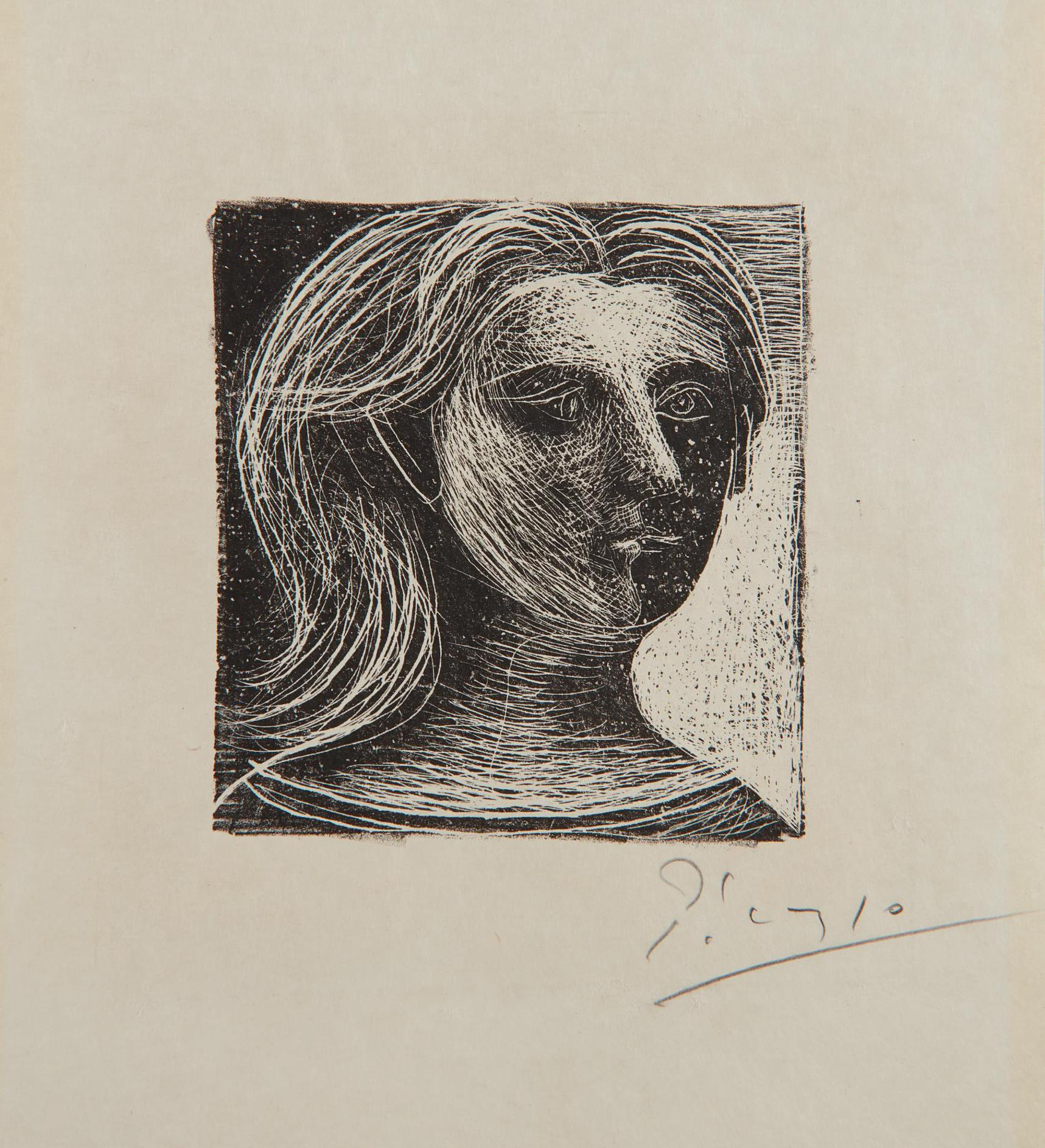 Pablo Picasso-Tete De Femme (Head Of A Woman), From Picasso, Dessins (Picasso, Drawings)-1925