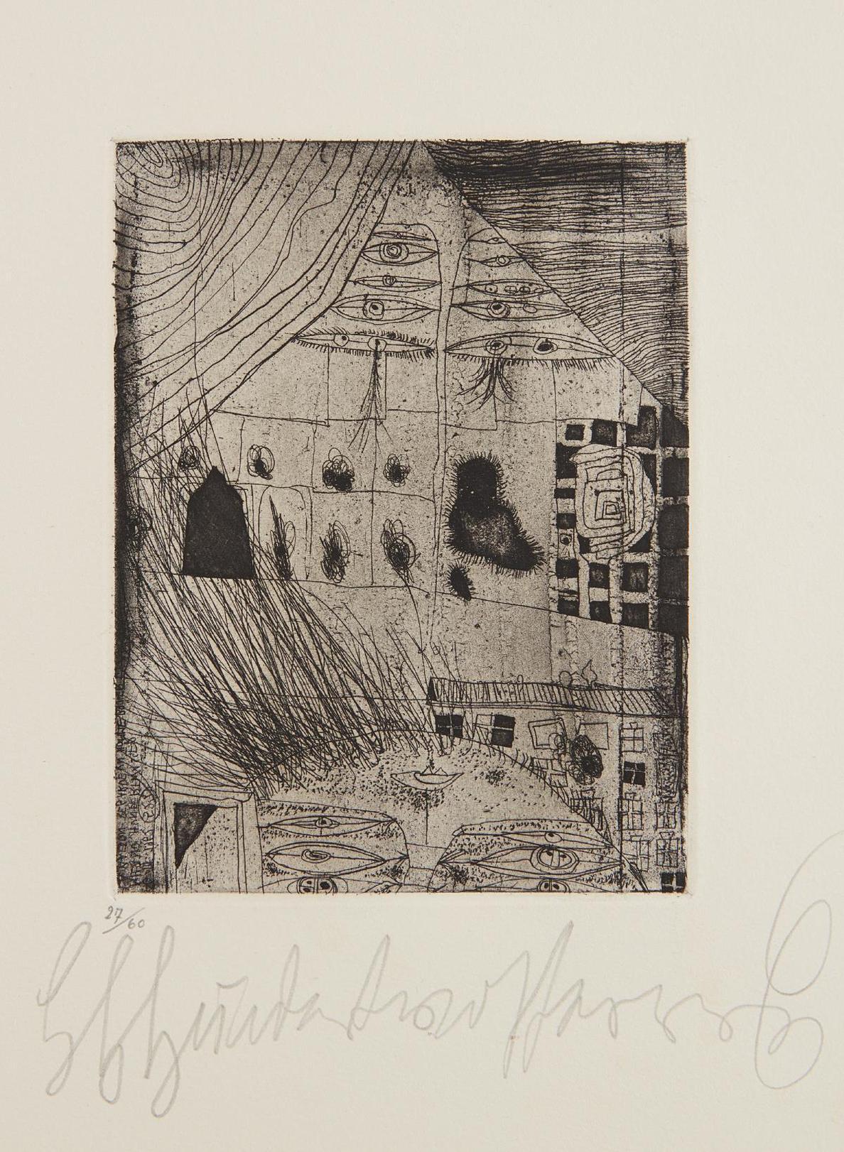 Friedensreich Hundertwasser-Das Haus Sieht Einen Menschen Brennen (The House Looks At A Burning Man)-1962