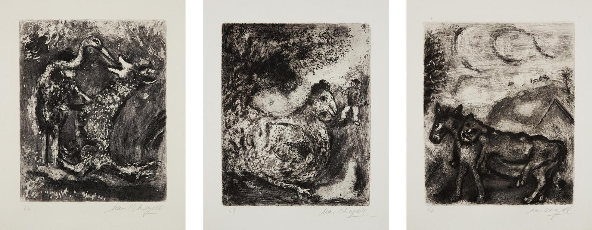 Marc Chagall-The Wolf And The Stork, Plate 34; The Hen That Laid Golden Eggs, Plate 59; And The Ass In The Lion'S Skin, Plate64, From Fables De La Fontaine-1930