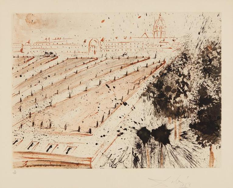 Salvador Dali-Esplanade Des Invalides, Plate 2 From The Paris Series, By Lluis Bracons-1963
