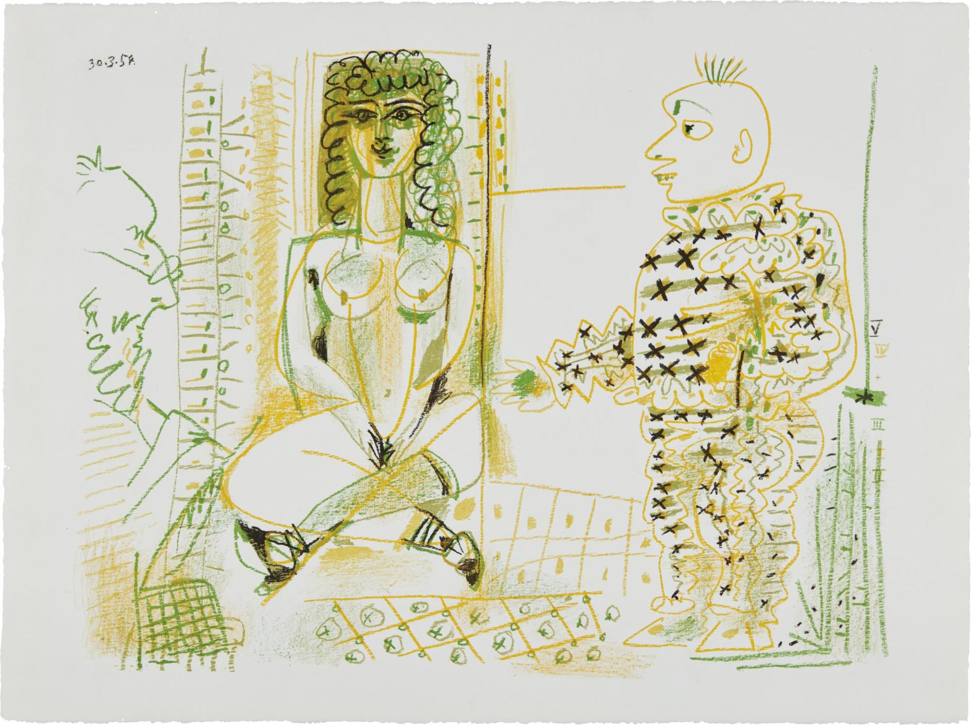 Pablo Picasso-Le Peintre Et Son Modele (The Painter And His Model)-1954