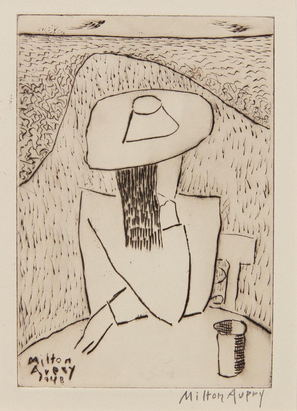Milton Avery-March At A Table (March On Terrace), From Laurels Portfolio, No. 4-1948