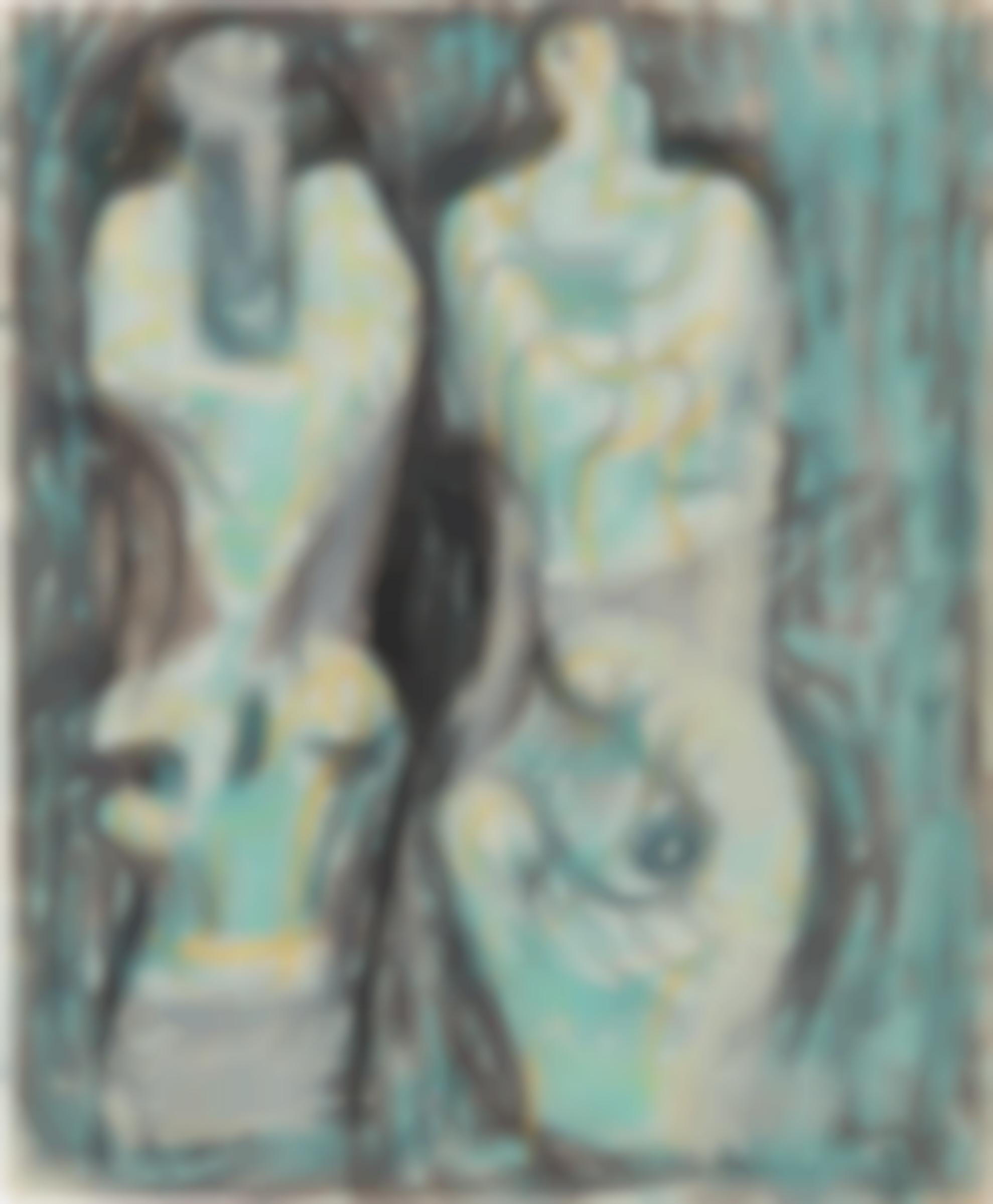 Henry Moore-Page From Sketchbook: Two Sculptural Figures On Green Background-1948