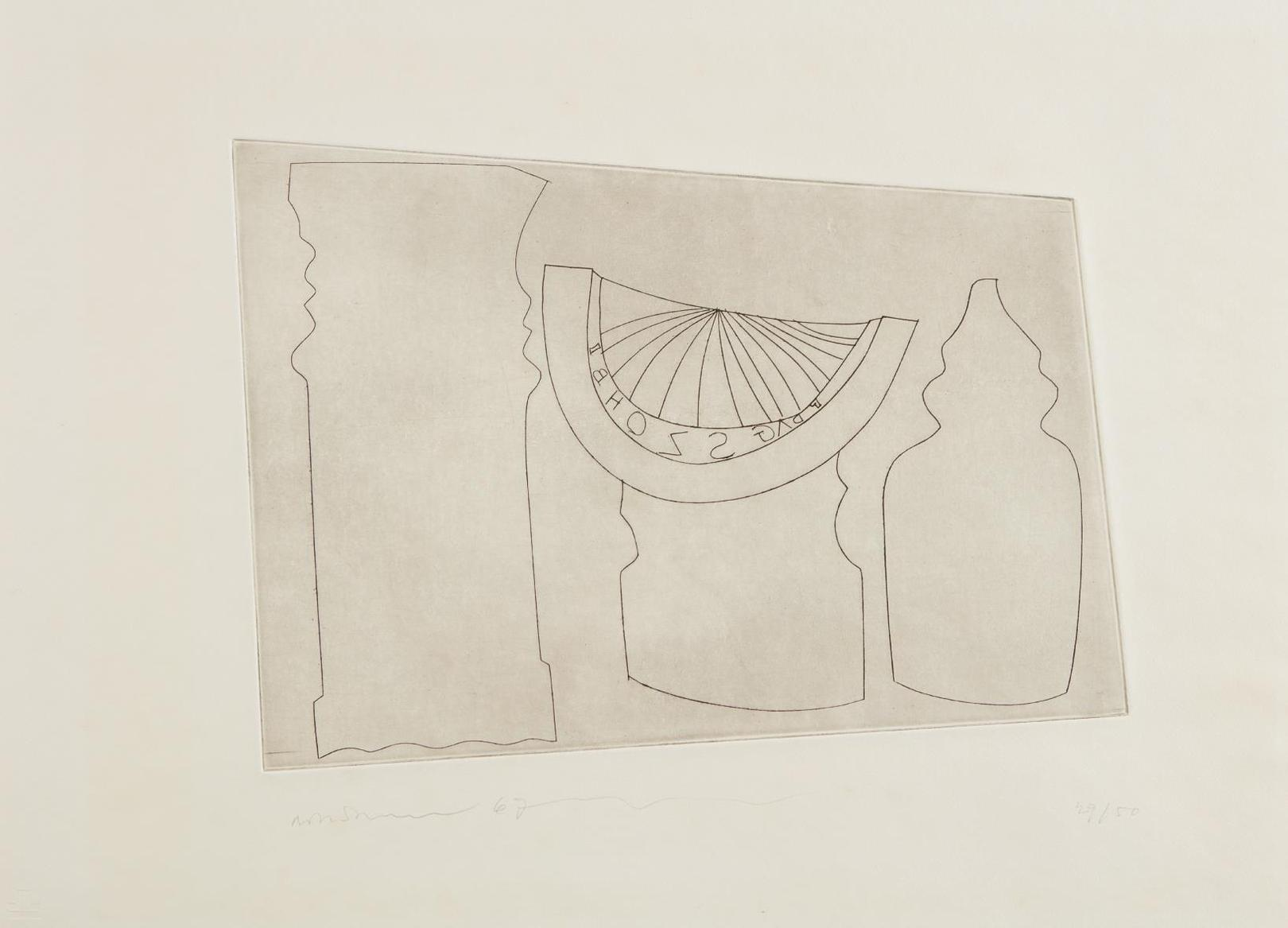 Ben Nicholson-Turkish Sundial Between Two Turkish Forms-1967