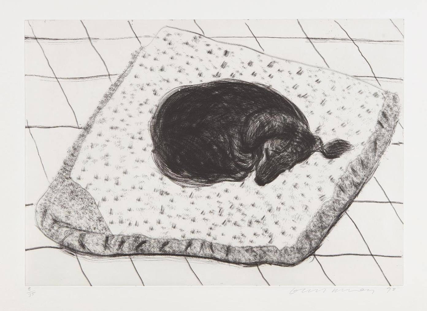 David Hockney-Dog Etching No. 15, From Dog Wall-1998