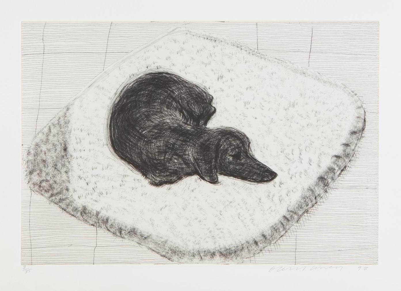 David Hockney-Dog Etching No. 12, From Dog Wall-1998