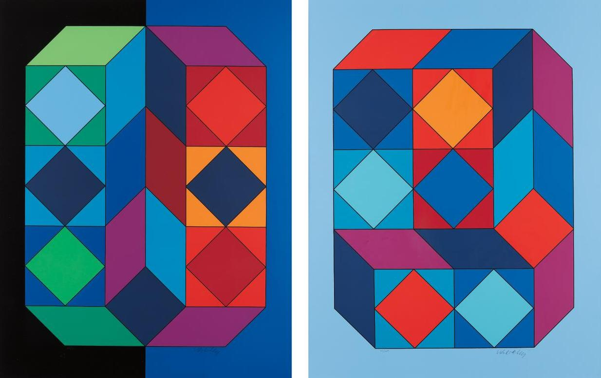 Victor Vasarely-Vy-29-F; And Vy-29-G, From Xico Portfolio-1973