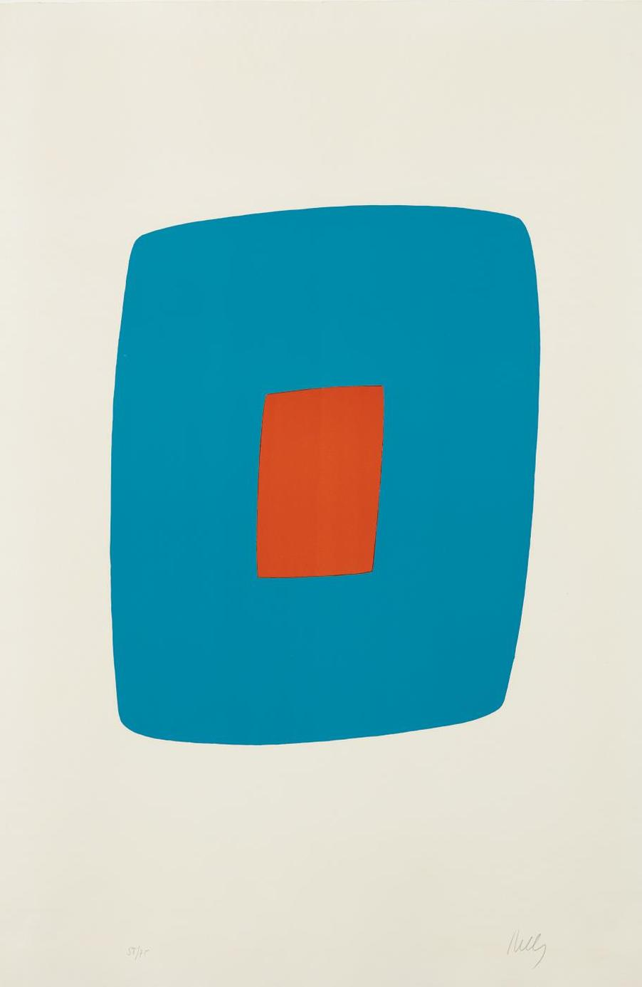 Ellsworth Kelly-Light Blue With Orange (Bleu Clair Avec Orange),From The Suite Of Twenty-Seven Color Lithographs-1965