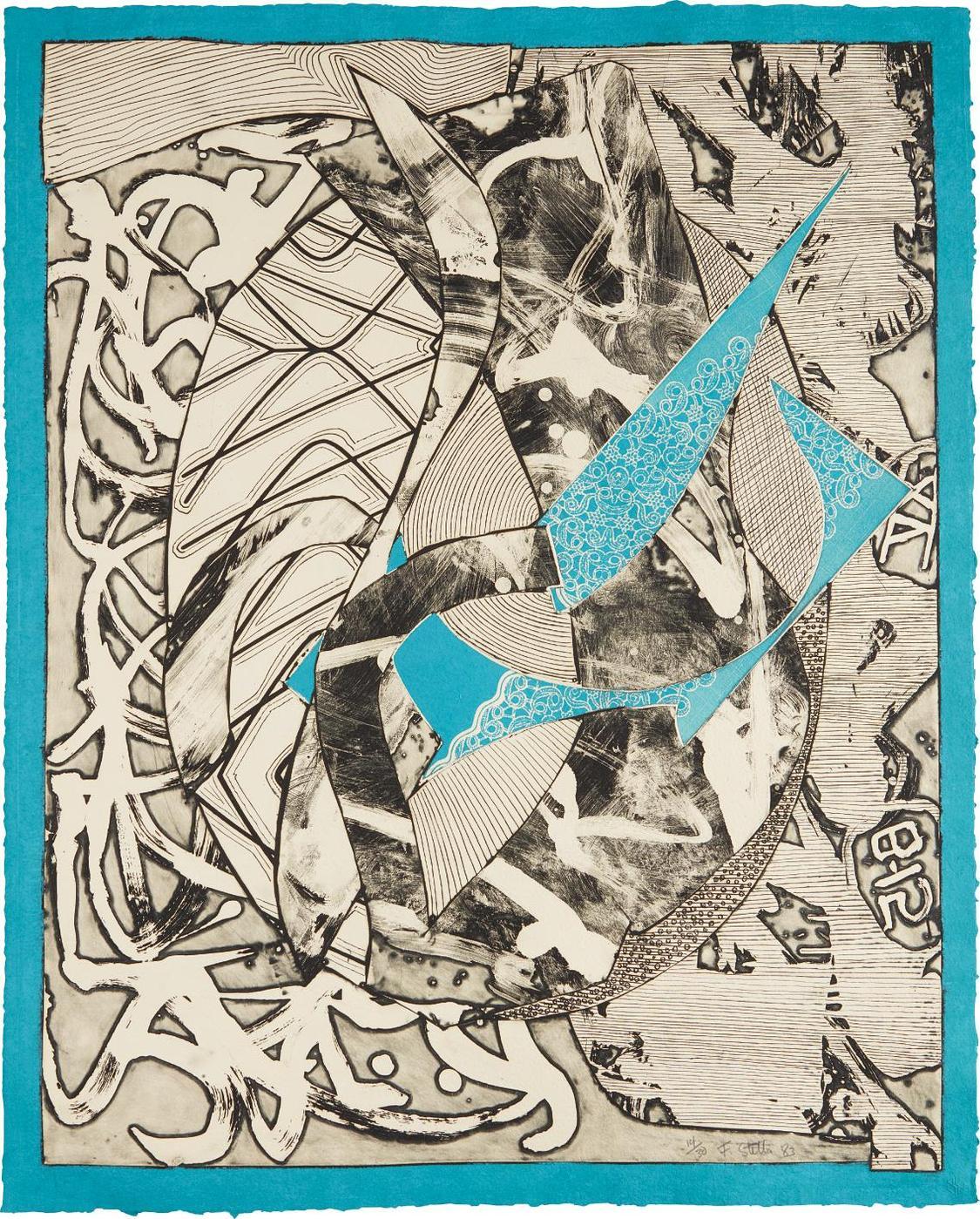Frank Stella-Swan Engraving Blue, From Swan Engravings-1983