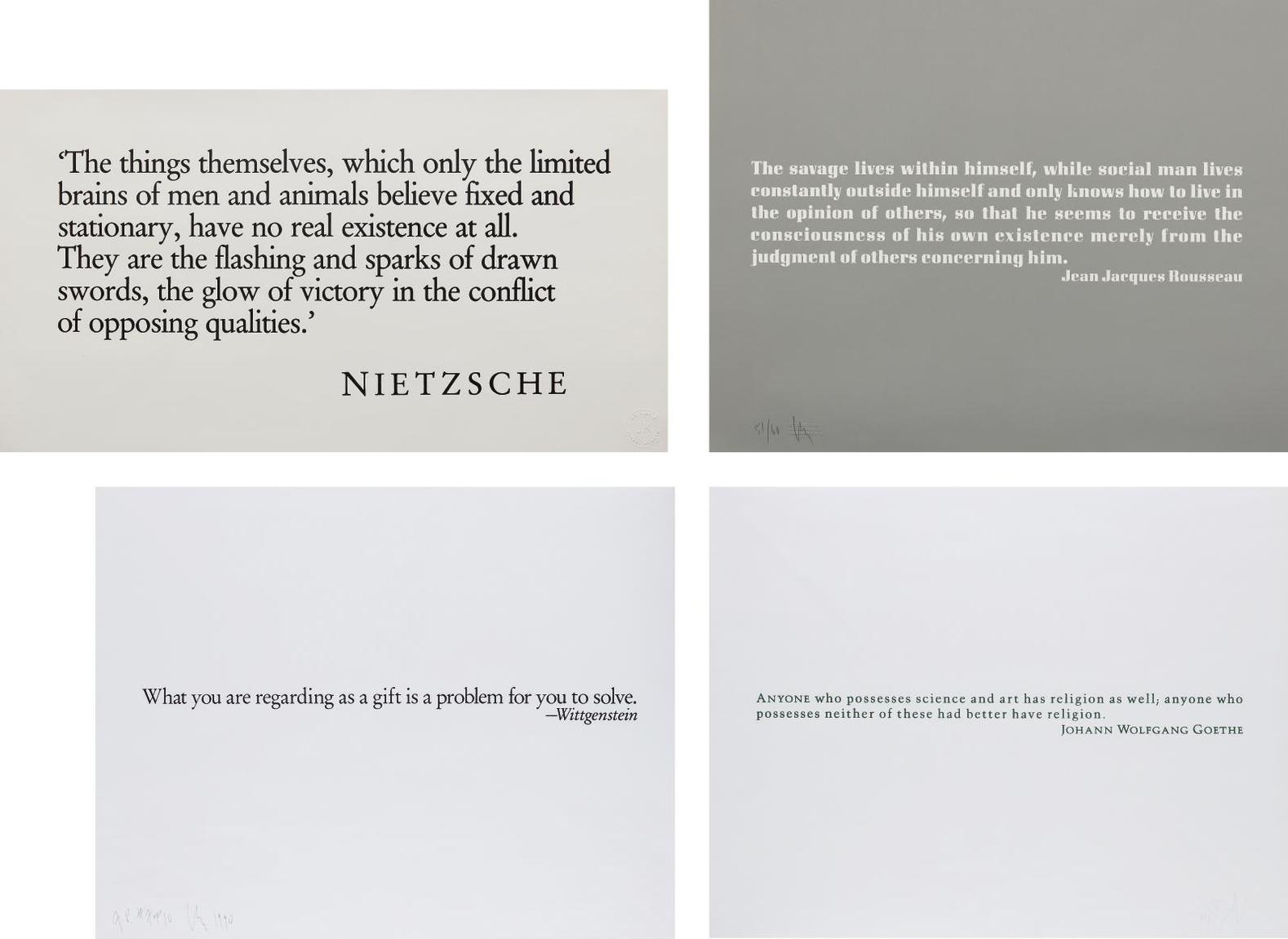 Joseph Kosuth-Ex Libris For The The Brooklyn Museum (Two Plates); [Wittgenstein]; [Goethe]; And [Nietzsche]-1990