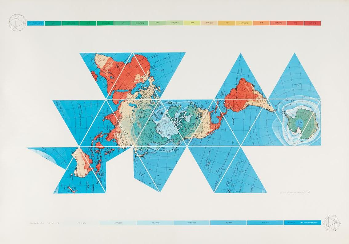 Buckminster Fuller - Dymaxion Air - Ocean World Map-1980