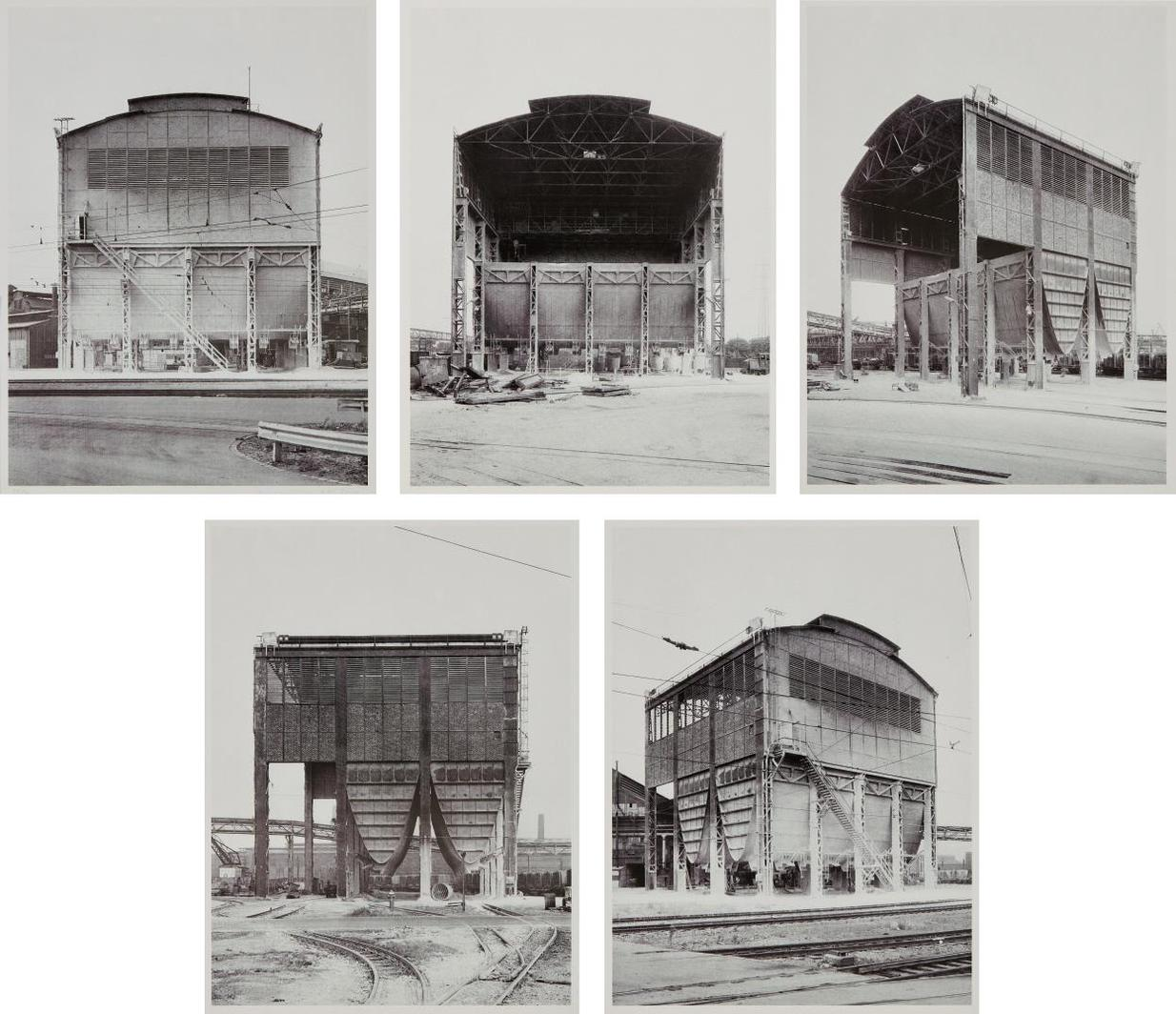 Bernd and Hilla Becher-5 Ansichten Eines Kalksilos In Duisburg-Ruhrort Suite-1974