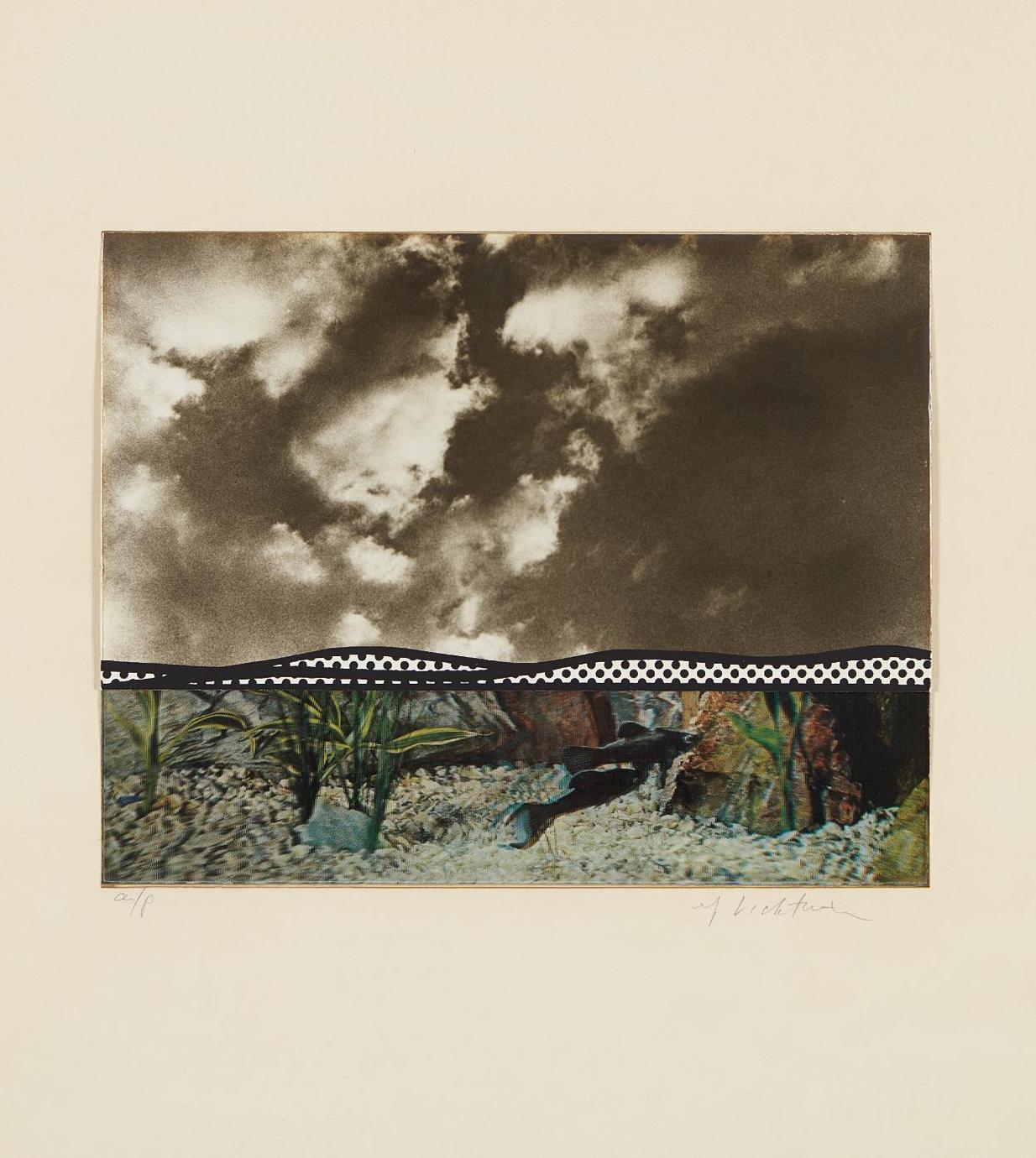 Roy Lichtenstein-Fish And Sky, From Ten From Leo Castelli-1967