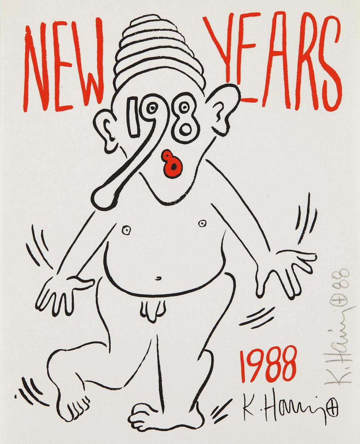 Keith Haring-Untitled (New Years)-1988