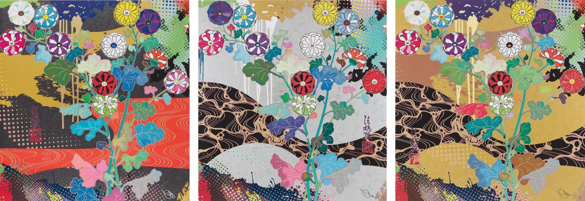 Takashi Murakami-Korin: Dark Matter; Korin: Pure White; And Korin: The Time Of Celebration-2015