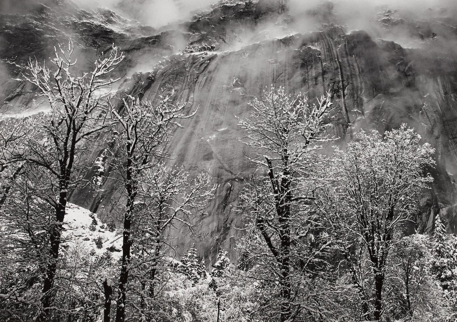 Ansel Adams-Trees And Cliffs Of Eagle Peak, Winter, Yosemite Valley, California 2-1935