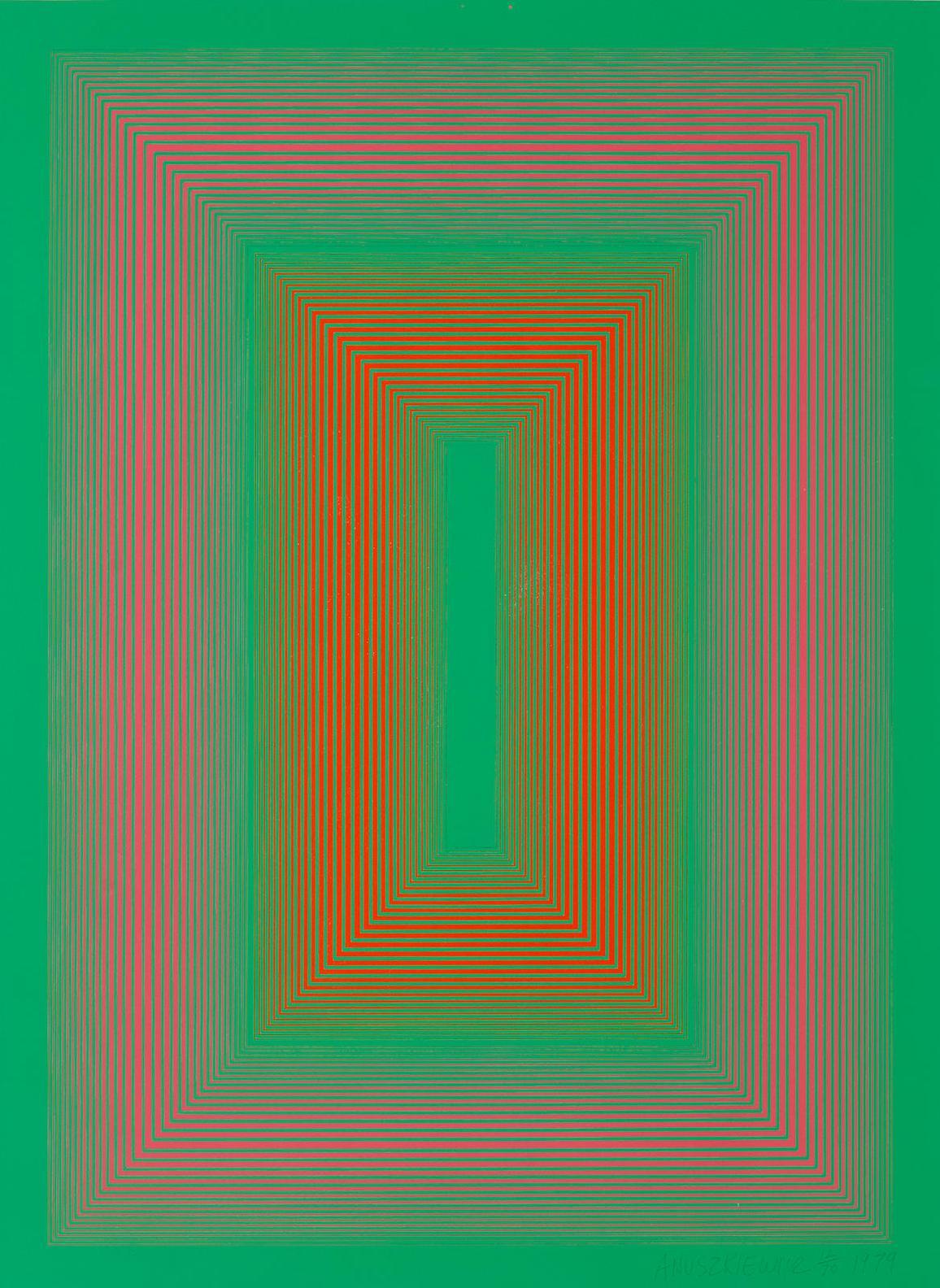 Richard Anuszkiewicz-Reflections Ii - Green Line-1979
