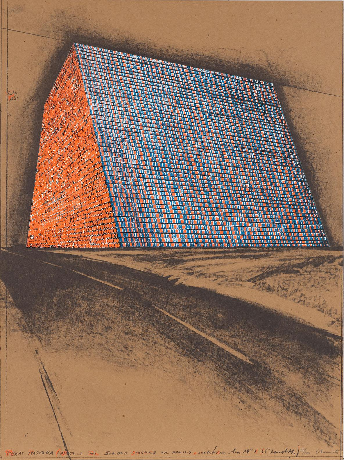 Christo and Jeanne-Claude-Texas Mastaba (Project For 500.000 Stacked Oil Drums), From America: The Third Century-1976