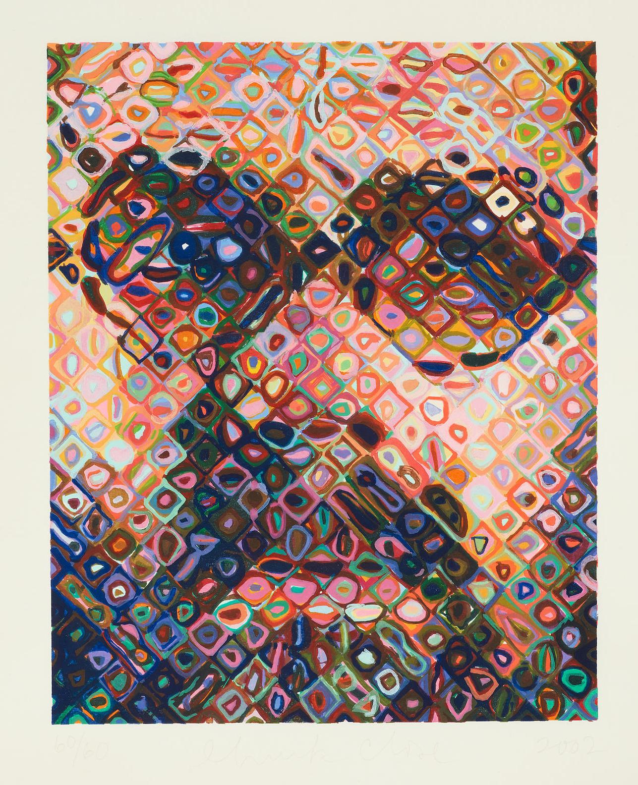 Chuck Close-Self-Portrait (Woodcut)-2002