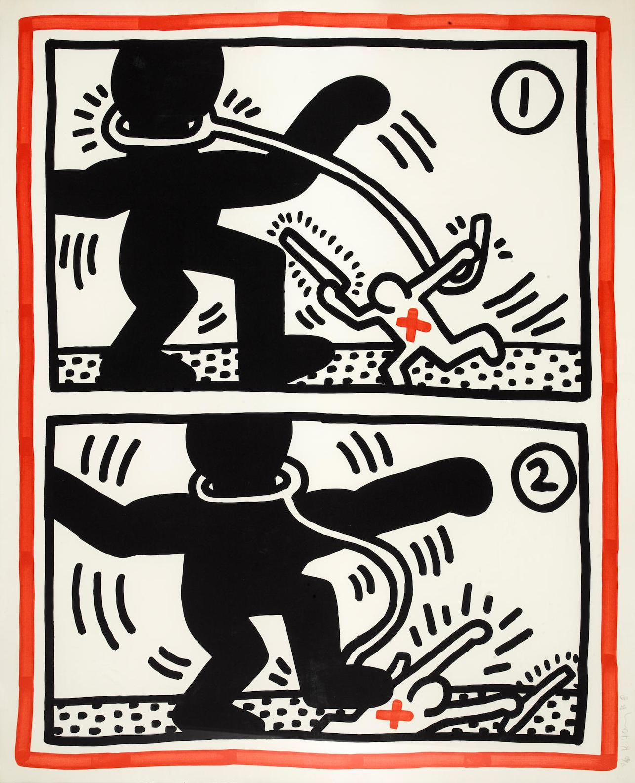 Keith Haring-Pl. 3, From Untitled (Free South Africa)-1985