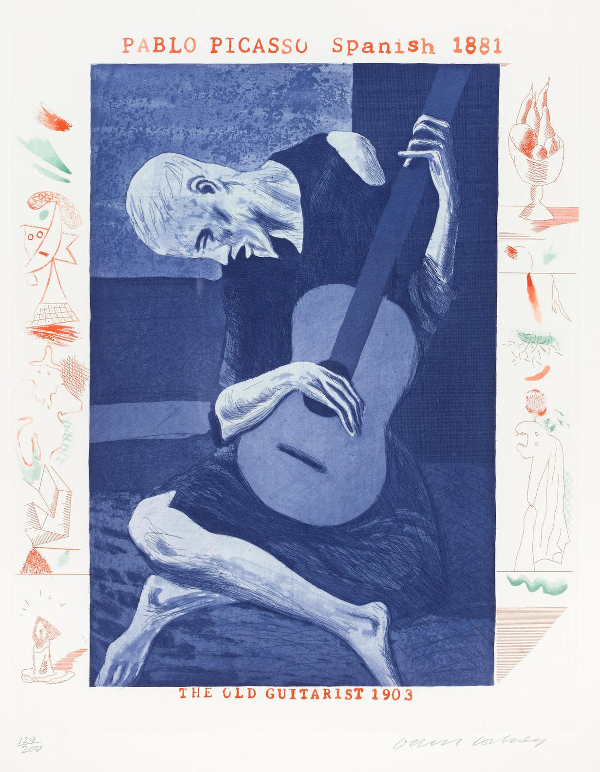David Hockney-The Old Guitarist, Pl. 2, From The Blue Guitar-1977