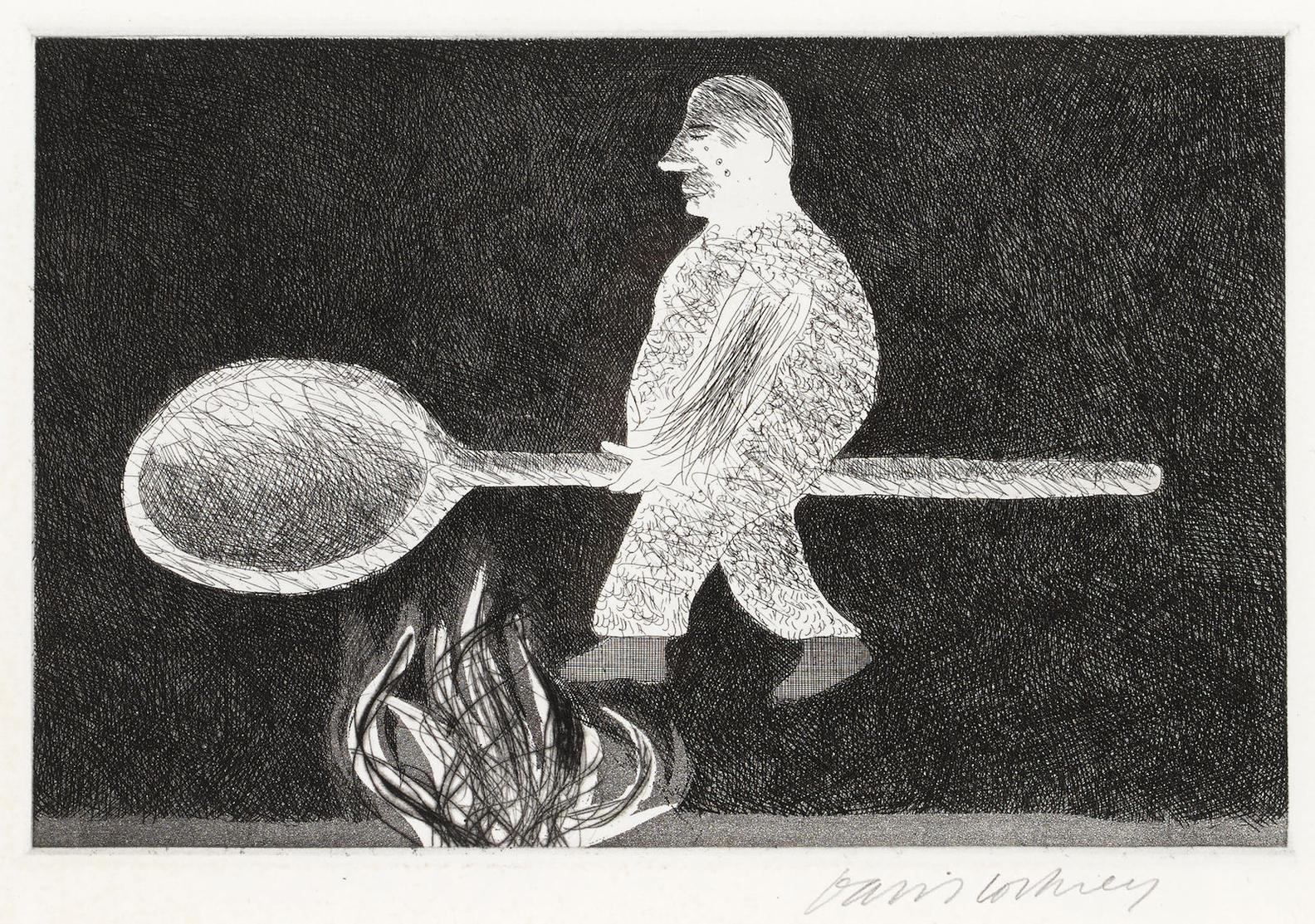 David Hockney-Riding Around On A Cooking Spoon, From Illustrations For Six Fairy Tales From The Brothers Grimm-1969