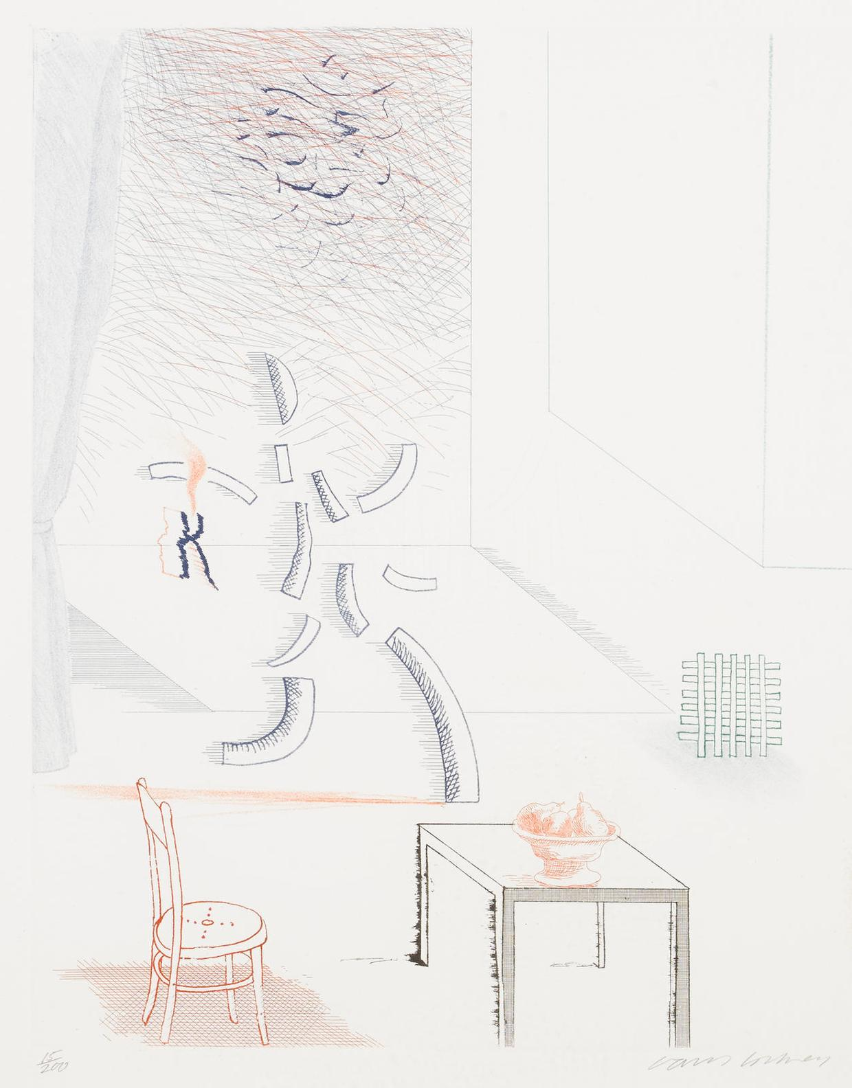 David Hockney-Tick It, Tock It, Turn It True, Pl. 15, From The Blue Guitar-1977