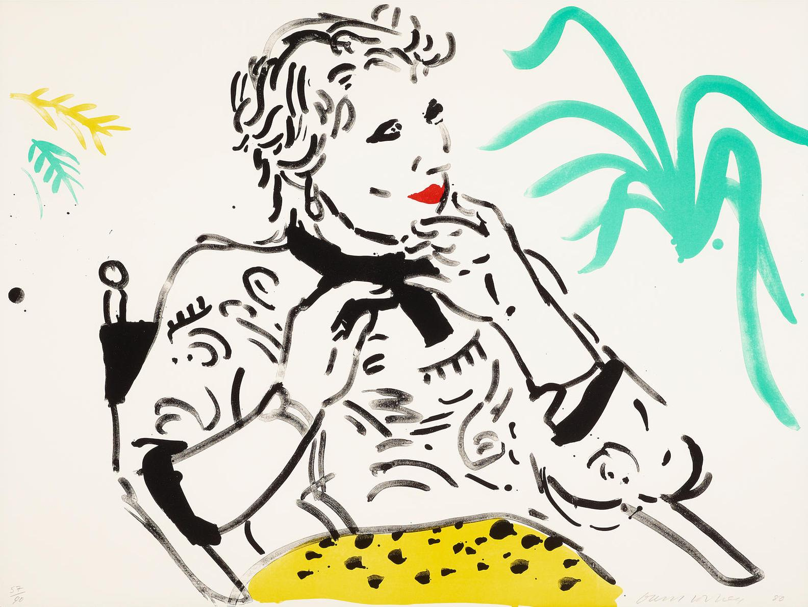 David Hockney-Celia With Green Plant-1980