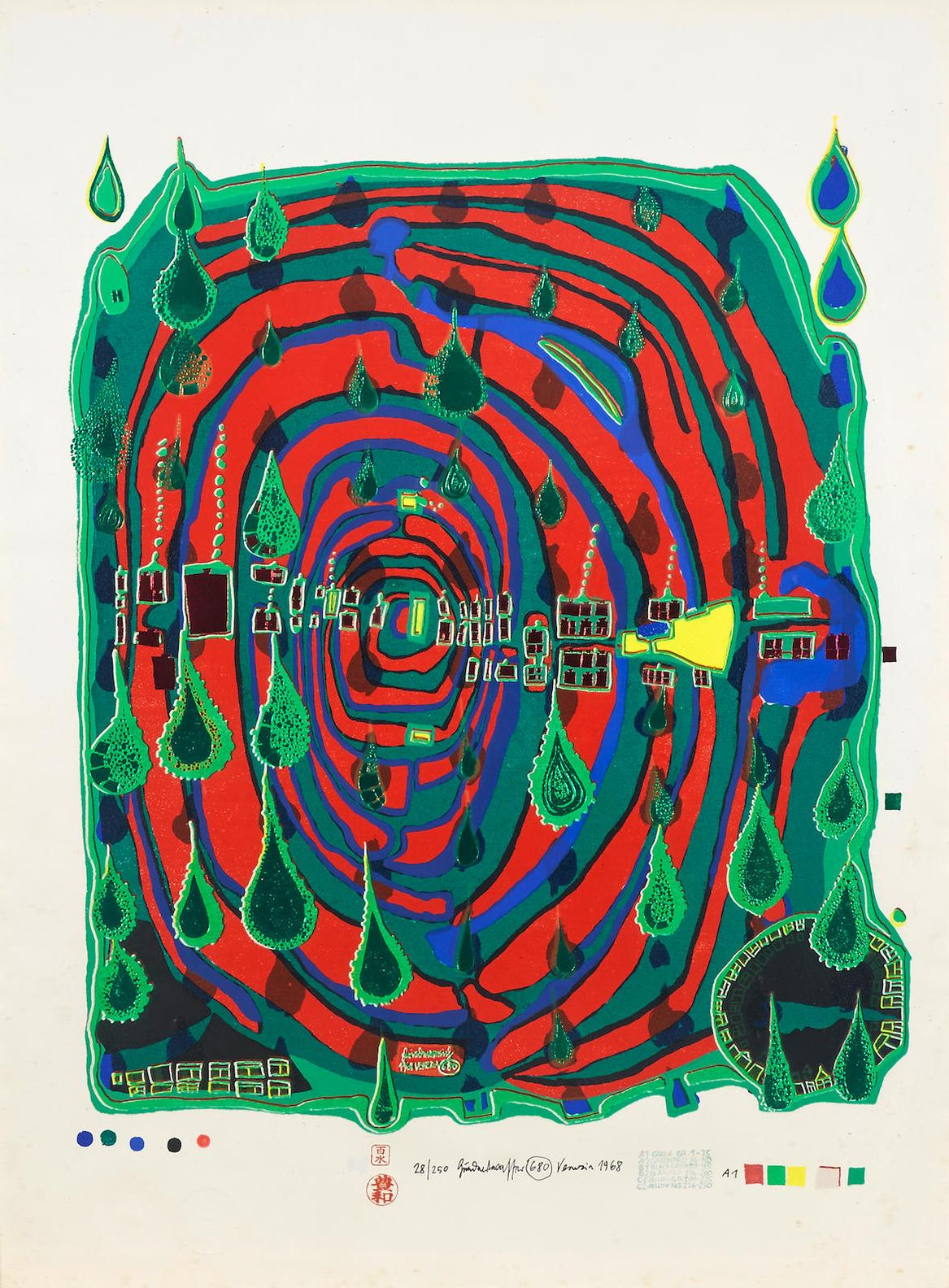 Friedensreich Hundertwasser-Sad Not So Sad In Rainshine, From Rainday On A Rainy Day-1968