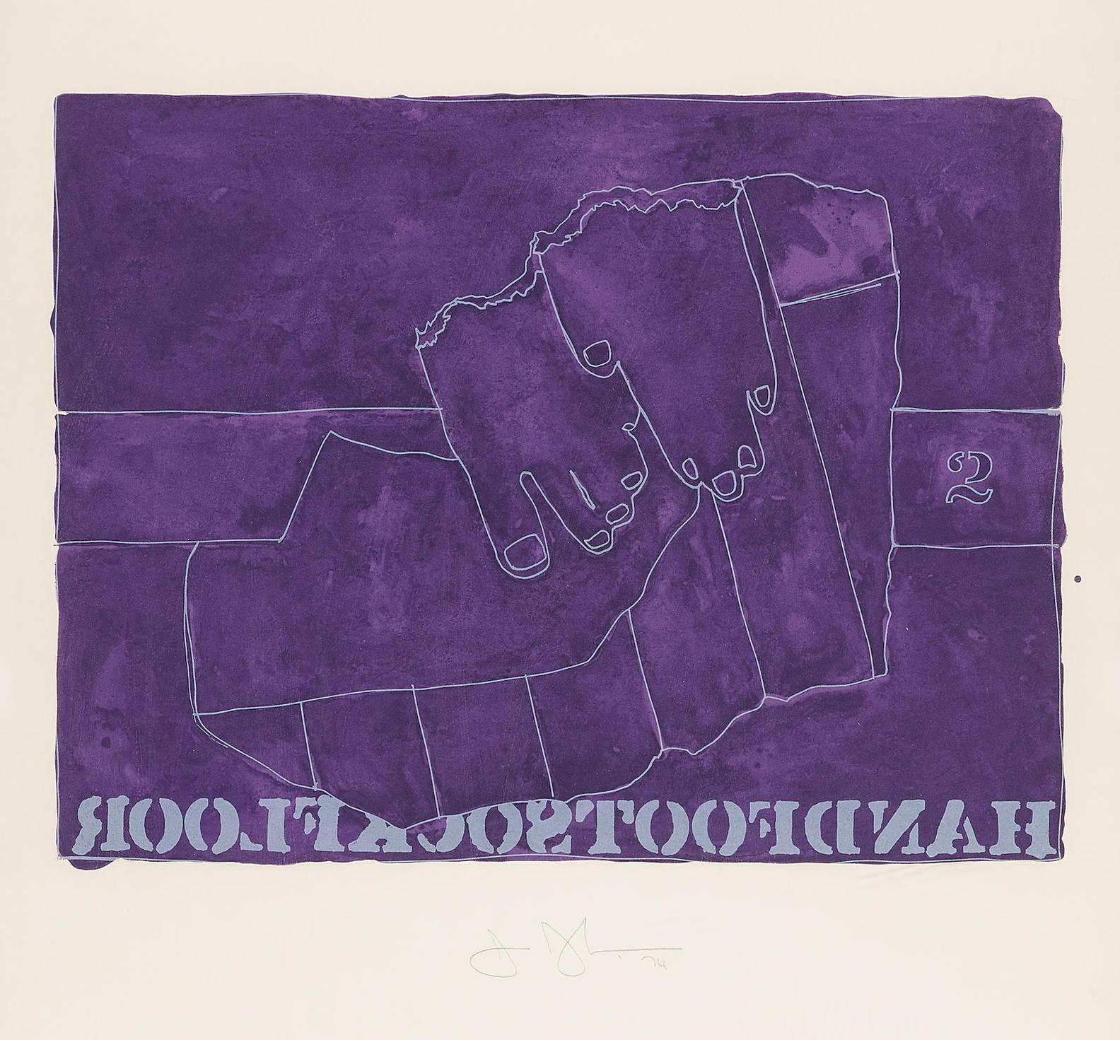 Jasper Johns-Handfootsockfloor, From Casts From Untitled-1974