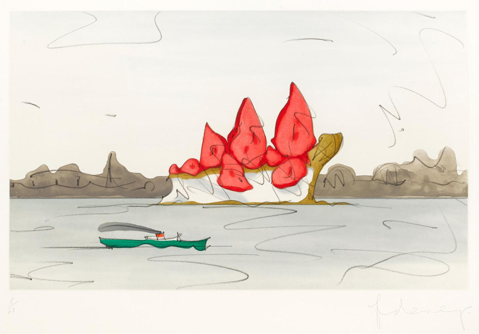 Claes Oldenburg-Proposed Monument For Mill Rock, East River, Nyc: Slice Of Strawberry Cheesecake-1992