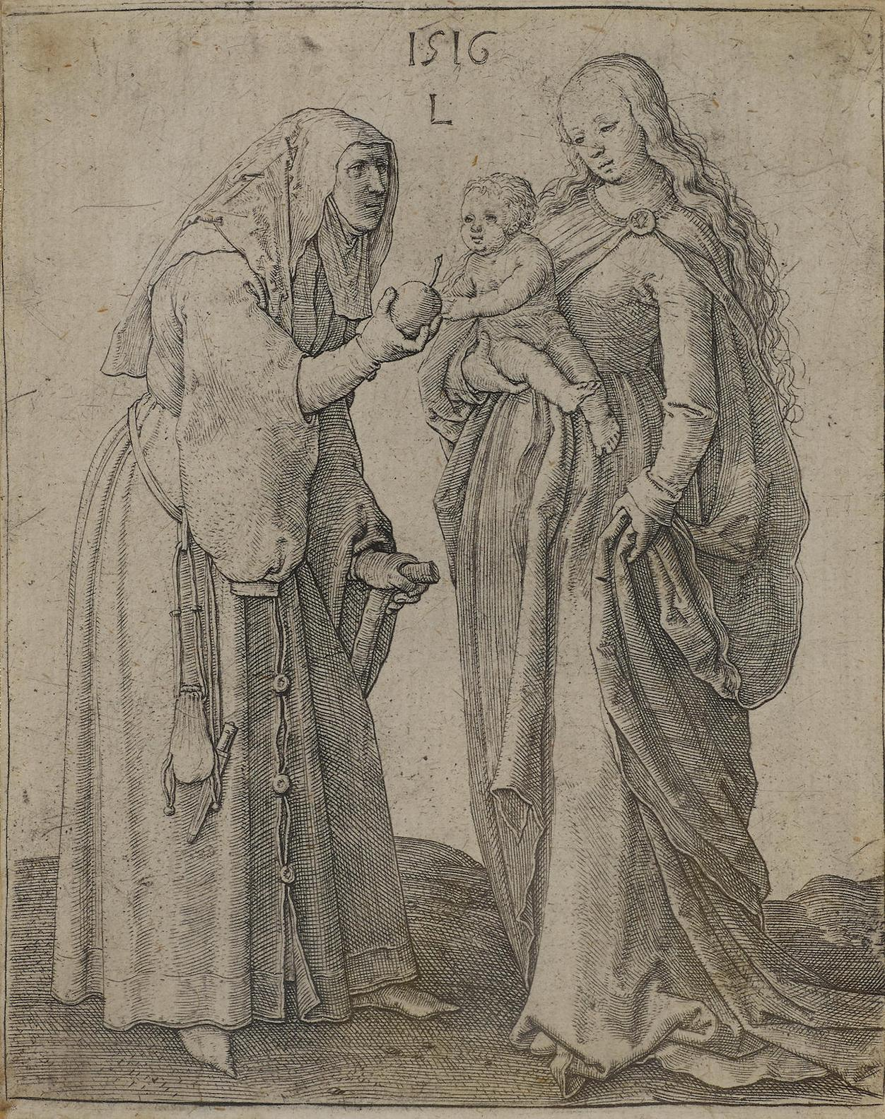 Lucas Van Leyden-The Madonna And Child With St. Anne-1516