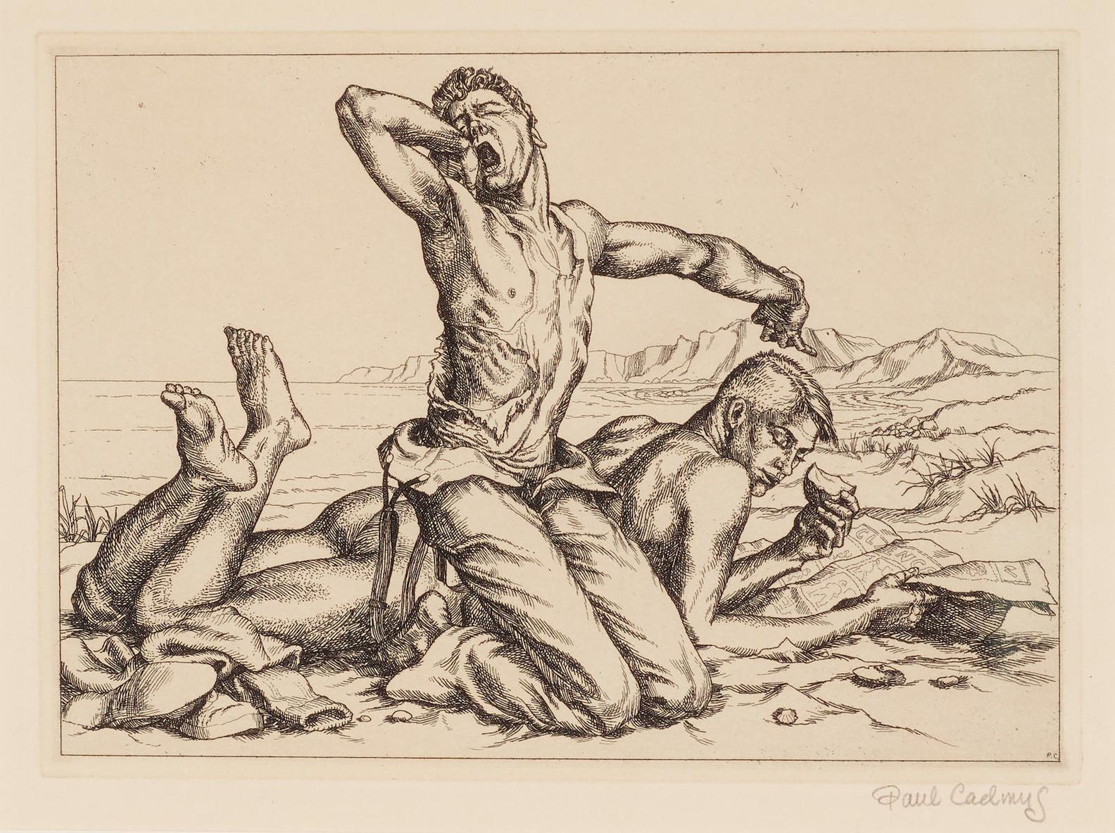 Paul Cadmus-Two Boys On A Beach #1, From Twelve Etchings-1938