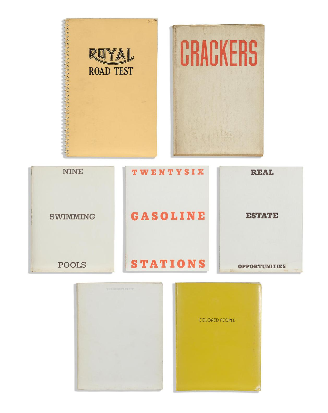 Ed Ruscha-Group Of 7 Books 7 , Twenty-six Gasoline Stations (1963, 3rd ed.); Every Building on The Sunset Strip (1966, 1st ed.); Royal Road Test (1967, 3rd ed.); Nine Swimming Pools and a Broken Glass (1968, 1st ed.); Crackers (1969); Real Estate Opportunities (1970); Colored People (1972)-1972