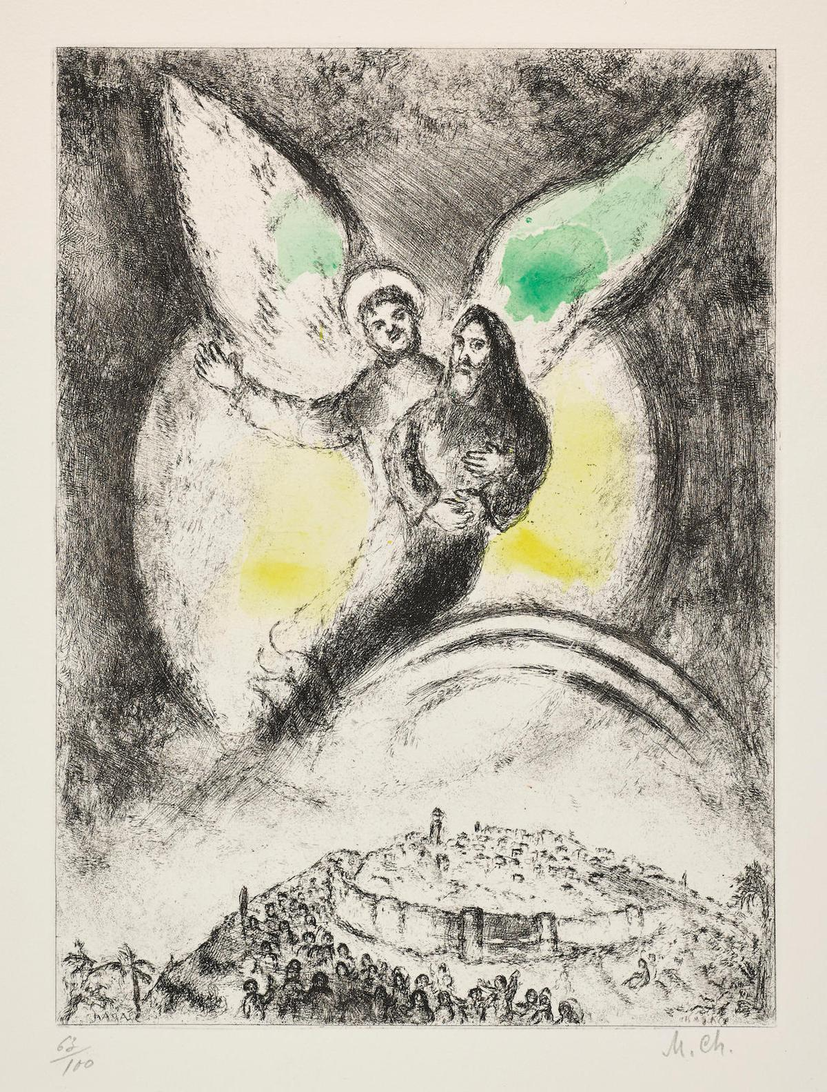 Marc Chagall-Leternel Aura Pitie De Jacob, Pl. 94, From La Bible-1939