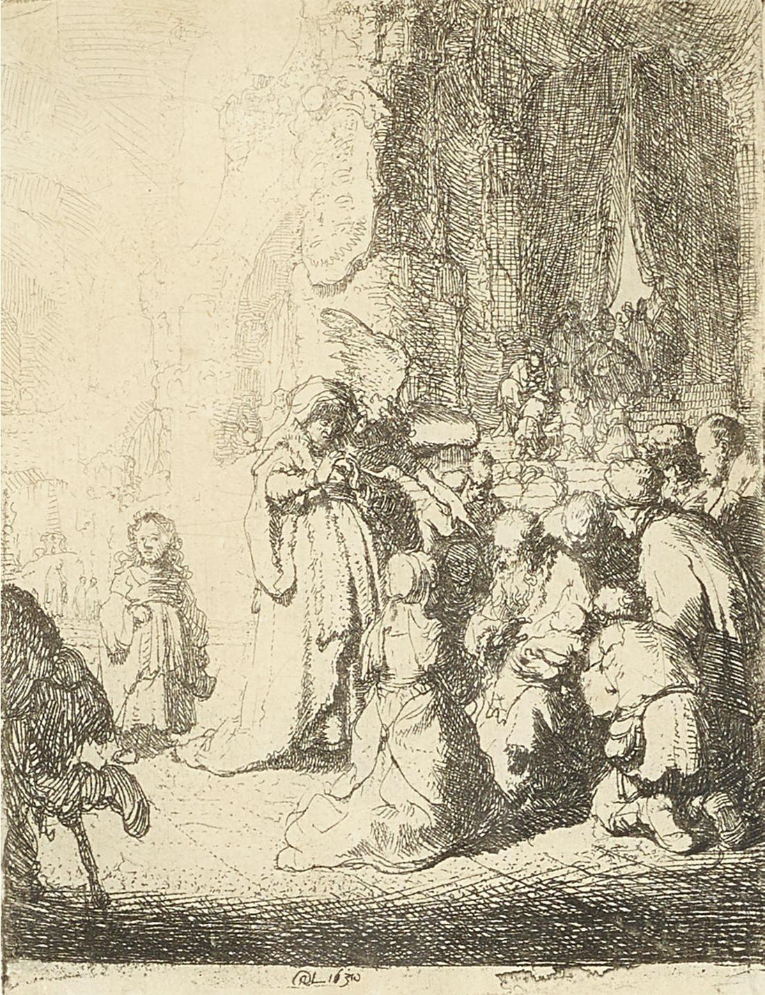 Rembrandt van Rijn-The Presentation In The Temple With The Angel: Small Plate-1630