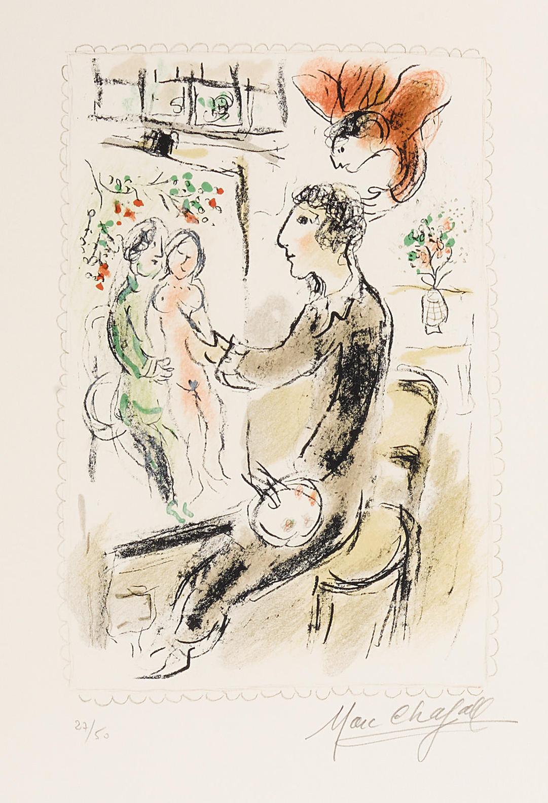 Marc Chagall-Le Peintre Blue-1980