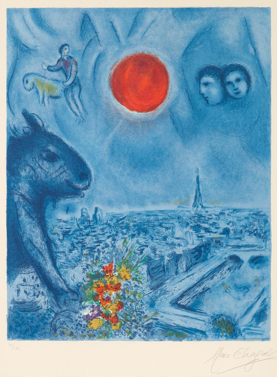 After Marc Chagall - Paris Sun-1977