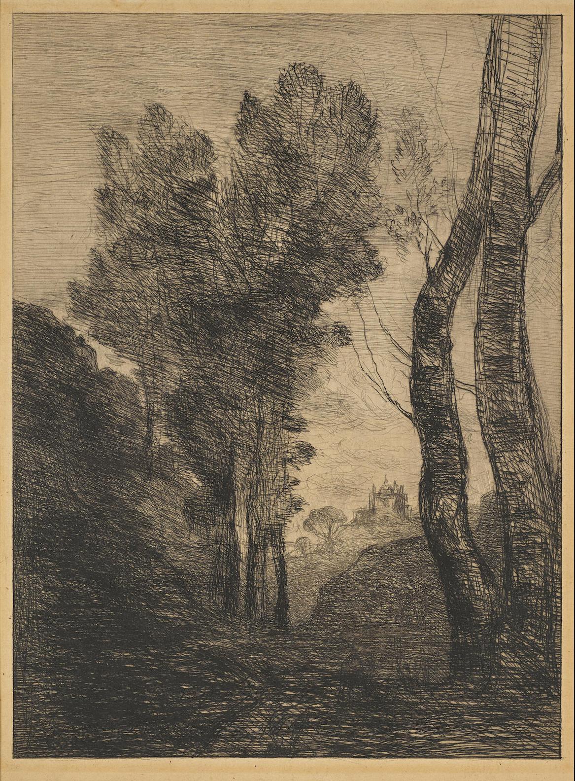 Jean-Baptiste-Camille Corot-Environs De Rome-1866