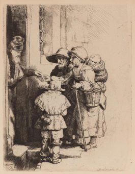 Rembrandt van Rijn-A Blind Hurdy-Gurdy Player And Family Receiving Alms-1648