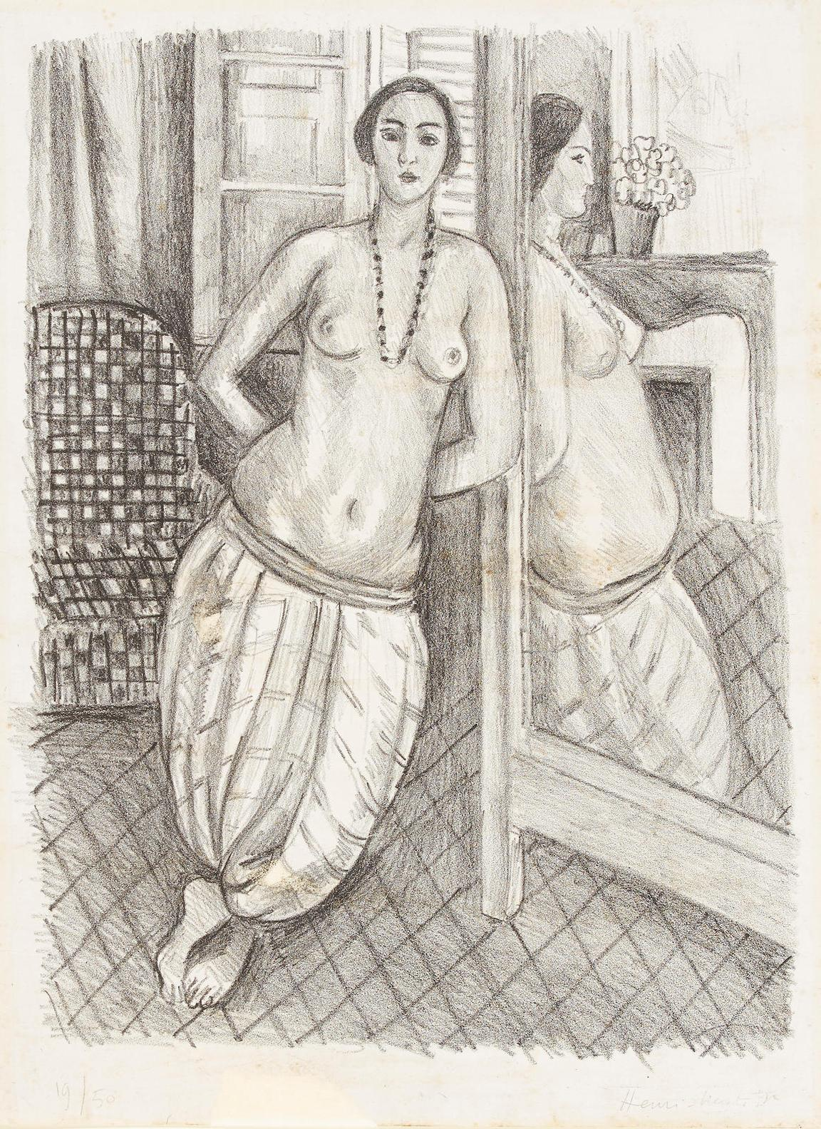 Henri Matisse-Odalisque A La Culotte Rayee, Refletee Dans La Glace-1923