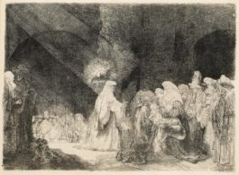 Rembrandt van Rijn-The Presentation In The Temple: Oblong Print-1640